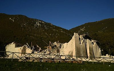 The collapsed church San Salvatore a Campi near Norcia, Italy on October 31, 2016, a day after a 6.6 magnitude earthquake hit central Italy. (Filippo Monteforte/AFP)