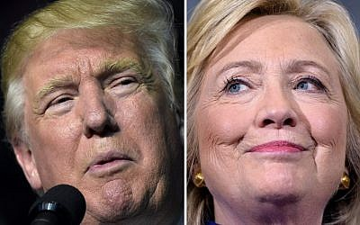 This file photo taken on September 25, 2016 shows a combination of images showing Republican presidential nominee Donald Trump in Roanoke, Virginia on September 24, 2016 and Democratic presidential nominee Hillary Clinton September 21, 2016 in Orlando, Florida. (AFP)