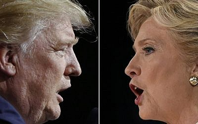 Republican presidential candidate Donald Trump, left, in Cleveland, Ohio on October 22, 2016, and Democratic nominee Hillary Clinton in Las Vegas, Nevada on October 19, 2016. (AFP/Jay LaPrete, AFP/Saul Loeb)