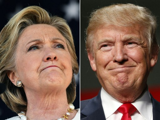 This combination of pictures created on November 03, 2016 shows US Democratic presidential nominee Hillary Clinton in Dade City, Florida, on November 1, 2016 and US Republican Presidential nominee Donald Trump in Warren, Michigan, October 31, 2016. (AFP PHOTO / JEWEL SAMAD AND JEFF KOWALSKY)