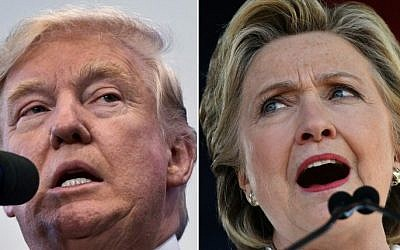 This photo combination shows US Republican presidential nominee Donald Trump in Atkinson, New Hampshire on November 4, 2016, and US Democratic presidential nominee Hillary Clinton in Dade City, Florida, on November 1, 2016. (AFP/Mandel Ngan and Jewel Samad)