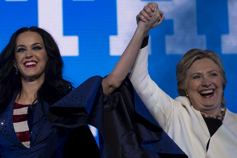 democratic presidential candidate hillary clinton with singer katie perry during a gotv concert at the mann