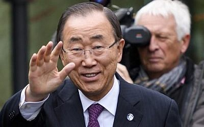 United Nations Secretary-General Ban Ki-moon gestures upon his arrival at Cyprus Peace Talks on November 7, 2016 in Mont-Pelerin, Western Switzerland. (AFP/Pool/Fabrice Coffrini)