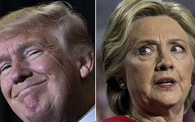 This combination of pictures created on November 8, 2016 shows US Republican presidential nominee Donald Trump in Tampa, Florida on November 5, 2016 and Democratic presidential nominee Hillary Clinton in Allendale, Michigan on November 7, 2016. (AFP)