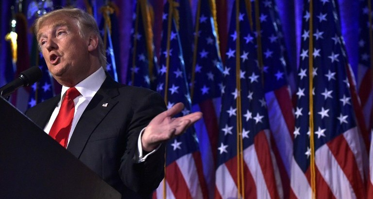 Republican presidential elect Donald Trump gives a speech during election night at the New York Hilton Midtown in New York on November 9, 2016. (AFP PHOTO / MANDEL NGAN)