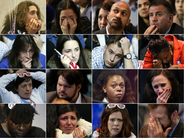 This combination of pictures created on November 09, 2016 shows supporters of Democratic presidential candidate Hillary Clinton reacting November 08, 2016 to early election results in various cities across the United States.(AFP PHOTO)