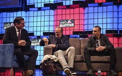 Nasdaq US CEO Bob Greifeld (L) accompanied by about.me & True Ventures US CEO Tony Conrad (C) and Kleiner Perkins General partner Mood Rowghani sit during a talk at the main stage of the Web Summit at Parque das Nacoes, in Lisbon on November 9, 2016. Europe's largest tech event Web Summit will be held at Parque das Nacoes in Lisbon from November 7 to 10, 2016. (PATRICIA DE MELO MOREIRA/AFP)