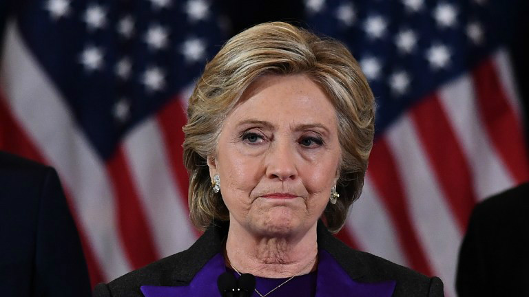 Democratic presidential candidate Hillary Clinton delivers her concession speech after being defeated by Republican president-elect Donald Trump, in New York on November 9, 2016. (AFP Photo/Jewel Samad)