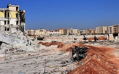 A general view shows the destruction and damage in Aleppo's western Minyan district on November 10, 2016. (AFP PHOTO / George Ourfalian)
