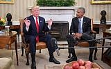 Then President Barack Obama meets with then President-elect Donald Trump to update him on transition planning in the Oval Office at the White House on November 10, 2016 in Washington, DC. (AFP/Jim Watson)