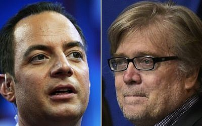 This combination of pictures created on November 11, 2016 shows Reince Priebus, left, and Stephen K. Bannon. (AFP PHOTO / STF)