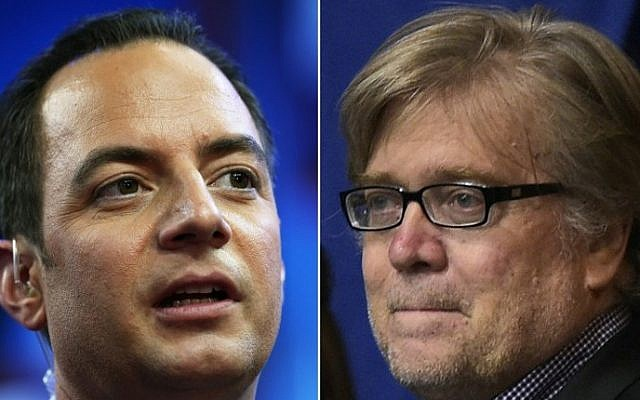 Combination of photos shows Republican National Convention Chairman Reince Priebus, left, and Donald Trump's campaign Chief Executive Officer Stephen K. Bannon. (AFP/STF)