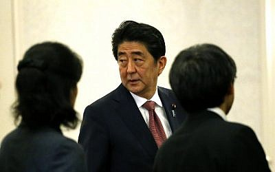 Japanese Prime Minister Shinzo Abe arrives to a press conference after a meeting with president-elect Donald Trump on November 17, 2016 in New York (AFP PHOTO / KENA BETANCUR)