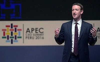 Facebook CEO and chairman Mark Zuckerberg speaks during a session of the APEC CEO Summit, part of the broader Asia-Pacific Economic Cooperation (APEC) Summit in Lima on November 19, 2016. (AFP/Rodrigo Buendia)