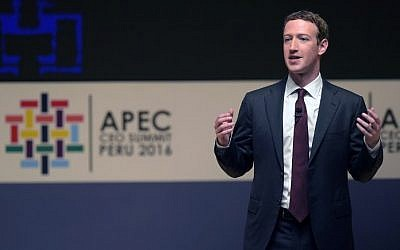 Facebook CEO and chairman Mark Zuckerberg speaks during a session of the APEC CEO Summit, part of the broader Asia-Pacific Economic Cooperation (APEC) Summit in Lima on November 19, 2016.  (AFP/ Rodrigo BUENDIA)