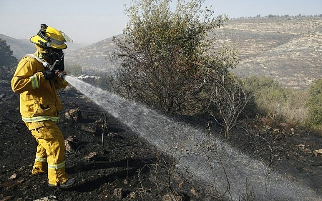An Israeli firefighter battles the blaze at the village of Nataf, in the Jerusalem hills, on November 26, 2016. (AFP PHOTO/AHMAD GHARABLI)