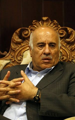 Palestinian Football Association (PFA) head and member of the Fatah Central Committee, Jibril Rajoub, answers AFP journalists' questions on November 28, 2016 in Ramallah, on the eve of the Fatah party's first congress since 2009. (AFP PHOTO / ABBAS MOMANI)