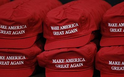 Baseball caps surpporting Republican presidential nominee Donald Trump are seen for sale before a campaign event at the SeaGate Convention Centre on October 27, 2016 in Toledo, Ohio. (J.D. Pooley/Getty Images/AFP)
