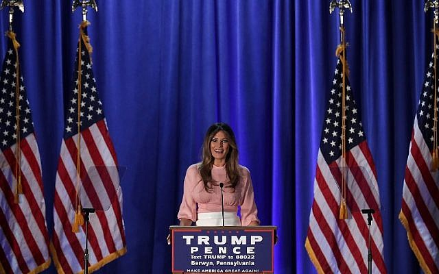 Melania Trump, wife of Republican presidential nominee Donald Trump, speaks to supporters during a campaign event November 3, 2016 in Berwyn, Pennsylvania. (Alex Wong/Getty Images/AFP)
