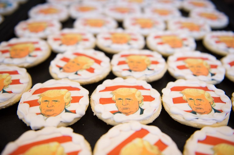 Donald Trump cookies are on sale at the Oakmont Bakery on November 8, 2016 in Oakmont, Pennsylvania. (Jeff Swensen/Getty Images/AFP)