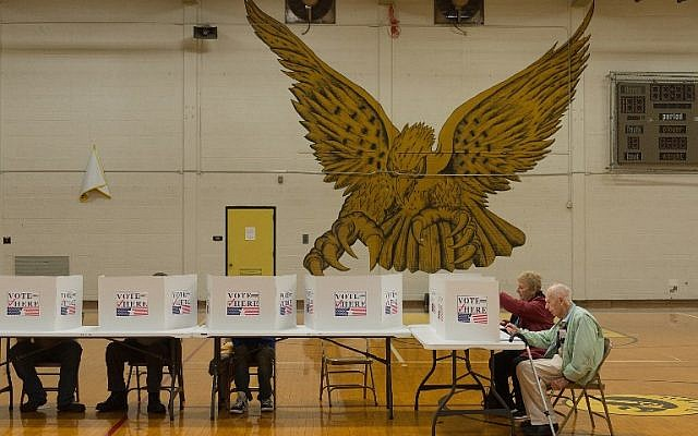 Voters cast their ballots at a polling station at Hazelwood Central High School on November 8, 2016 in Florissant, Missouri. (Michael B. Thomas/Getty Images/AFP)