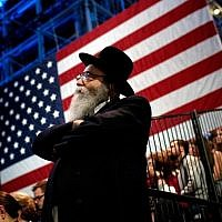 Illustrative: A Jewish man watches voting results come in at Democratic presidential nominee former Secretary of State Hillary Clinton's election night event at the Jacob K. Javits Convention Center November 8, 2016 in New York City. (Win McNamee/Getty Images/AFP)