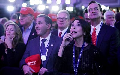 Supporters of Republican presidential nominee Donald Trump gather during the election night event at the New York Hilton Midtown on November 8, 2016 in New York City. (Chip Somodevilla/Getty Images/AFP)