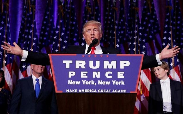Republican president-elect Donald Trump delivers his acceptance speech during his election night event at the New York Hilton Midtown in the early morning hours of November 9, 2016 in New York City (Chip Somodevilla/Getty Images/AFP)