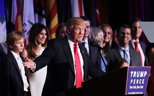 Republican President-elect Donald Trump delivers his acceptance speech during his election night event at the New York Hilton Midtown in the early morning hours of November 9, 2016 in New York City. (Spencer Platt/Getty Images/AFP)