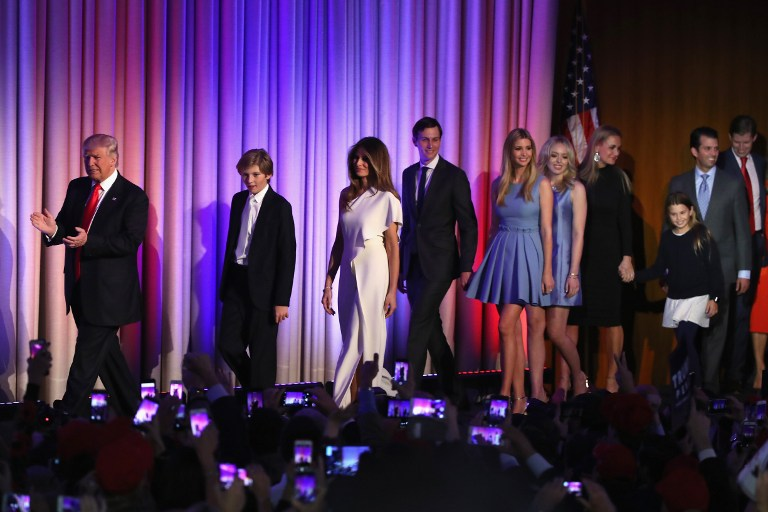Republican president-elect Donald Trump walks on stage along with, left to right, his son, Barron Trump, wife Melania Trump, son-in-law Jared Kushner, daughters Ivanka Trump, Tiffany Trump, and Vanessa Trump, and sons  Donald Trump Jr., and Eric Trump during his election night event at the New York Hilton Midtown in the early morning hours of November 9, 2016, New York City. (Mark Wilson/Getty Images/AFP)