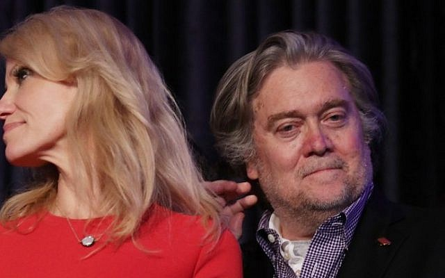 Republican president-elect Donald Trump's campaign manager, Kellyanne Conway, left, and Trump campaign CEO Stephen Bannon stand on stage during the election night event at the New York Hilton Midtown, New York City, in the early morning hours of November 9, 2016. (Chip Somodevilla/Getty Images/AFP)