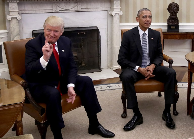 President-elect Donald Trump with President Barack Obama in the Oval Office November 10, 2016 (Win McNamee/Getty Images/AFP)