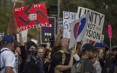 Protesters march in reaction to the upset election of Republican Donald Trump over Democrat Hillary Clinton in the race for President of the United States on November 12, 2016 in Los Angeles, California. (David McNew/Getty Images/AFP)
