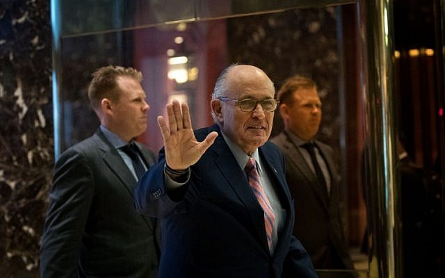 Former New York City mayor Rudy Giuliani arrives at Trump Tower, November 17, 2016 in New York City. (Drew Angerer/Getty Images/AFP)