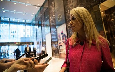Trump campaign manager Kellyanne Conway talks to reporters at Trump Tower, November 17, 2016 in New York City. (Drew Angerer/Getty Images/AFP)