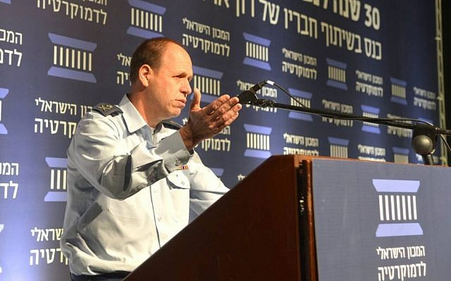 Maj. Gen. Hagai Topolanski, head of the IDF Manpower Directorate, speaks at an Israeli Democracy Institute conference marking 30 years since navigator Ron Arad went missing over Lebanon, on November 29, 2016. (Courtesy Israeli Democracy Institute)
