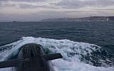 Illustration. The INS Tekuma, an Israeli Dolphin-class submarine, at sea. (IDF Spokesperson's Unit)