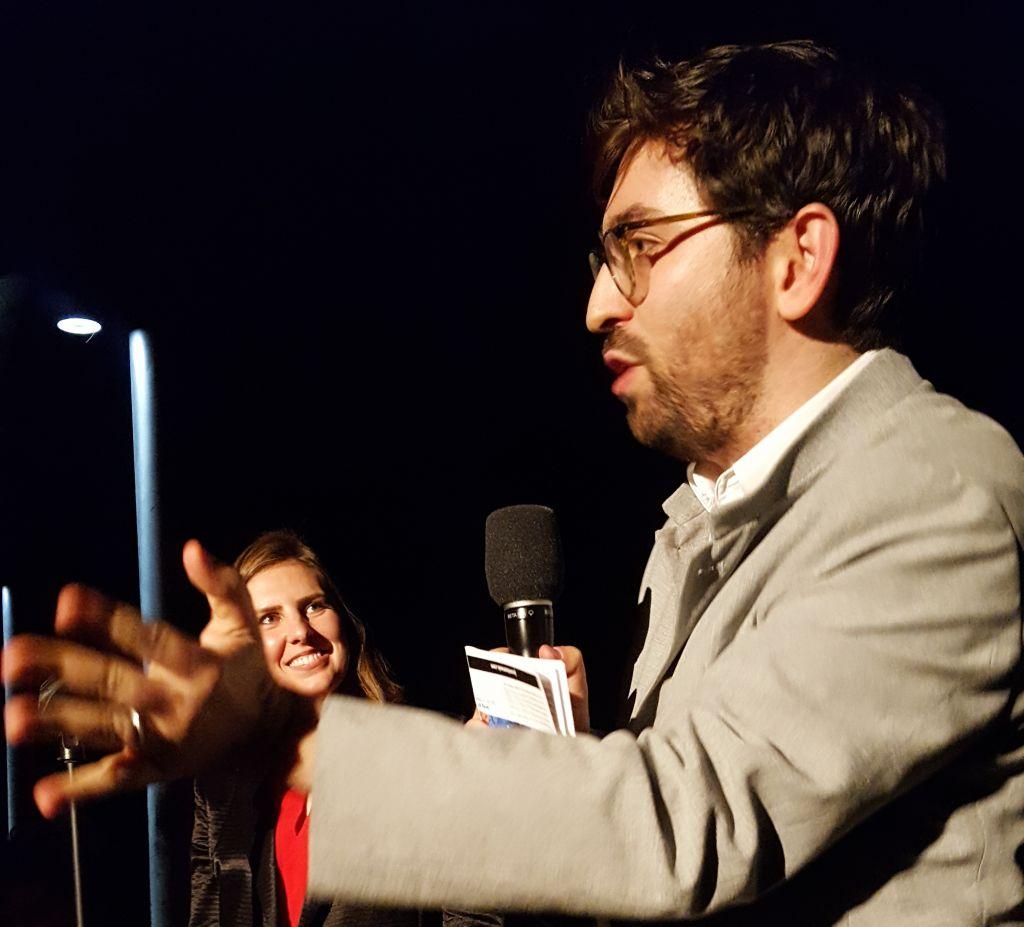 Israeli-born composer Matti Kovler introduces his Donald Trump-based opera in Cambridge, Massachusetts, as part of the Boston New Music Festival presented by Juventas New Music Ensemble, on November 2, 2016 (Matt Lebovic/The Times of Israel)