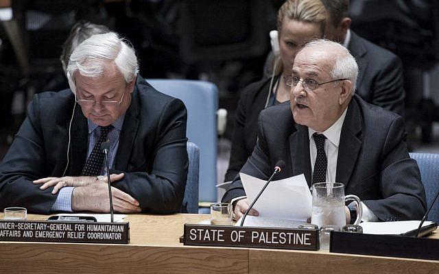 File: Riyad Mansour, right, addresses the UN Security Council on October 19, 2016. (Kim Haughton/UN)
