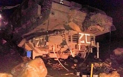 Sgt. Ido Ben-Ari's tank, which flipped during an exercise in the Golan Heights, killing him and wounding three other soldiers on November 24, 2016. (Twitter)