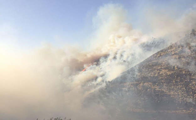 A large forest fire in the Jerusalem Hills, near the communities of Ma'ale Hahamisha and Nataf, November 25, 2016 (Fire Brigade Spokesperson's unit)