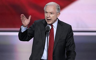 Alabama Sen. Jeff Sessions nominates Donald Trump as the Republican candidate for President during the second day of the Republican National Convention in Cleveland, Tuesday, July 19, 2016. (J. Scott Applewhite/AP)
