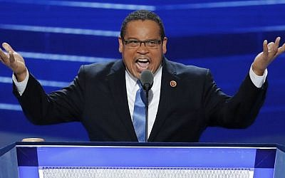 Rep. Keith Ellison, D-Minnesota, speaks during the first day of the 2016 Democratic National Convention in Philadelphia on July 25, 2016. (AP Photo/J. Scott Applewhite)