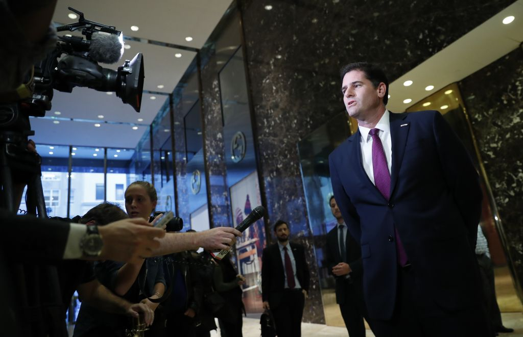 Israeli Ambassador to the U.S. Ron Dermer speaks to media at Trump Tower, Thursday, Nov. 17, 2016, in New York. (AP Photo/Carolyn Kaster)
