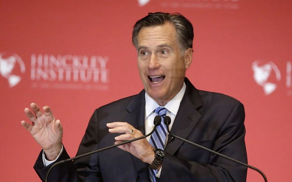 Former Republican presidential candidate Mitt Romney skewers Donald Trump during a speech at the University of Utah, Thursday, March 3, 2016, in Salt Lake City.  (AP Photo/Rick Bowmer)