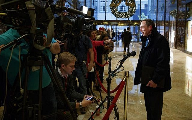 Former CIA director retired Gen. David Petraeus arrives at Trump Tower and talks with reporters after a meeting with President-elect Donald Trump, in New York, November 28, 2016. (AP/Evan Vucci)