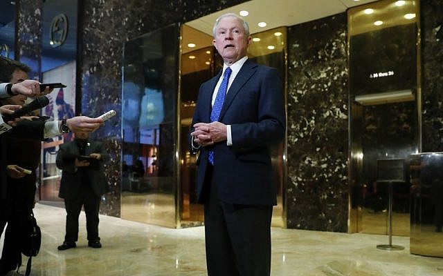 In this photo taken Nov. 17, 2016, Sen. Jeff Sessions, R-Ala. speaks to media at Trump Tower in New York. President-elect Donald Trump has picked Sessions for the job of attorney general. (AP Photo/Carolyn Kaster)