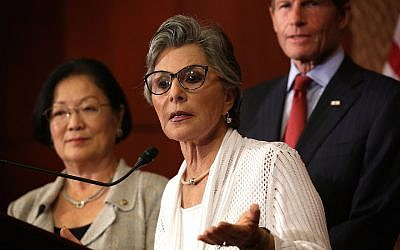 Sen. Barbara Boxer speaking at a news conference in Washington, DC, Aug. 3, 2015. (Alex Wong/Getty Images via JTA)