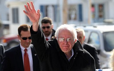 Senator Bernie Sanders waving in Concord on the day of the primary elections in New Hampshire, Feb. 9, 2016. (Spencer Platt/Getty Images)