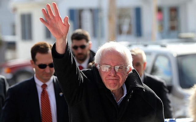 Sen. Bernie Sanders waving in Concord on the day of the primary elections in New Hampshire, Feb. 9, 2016. (Spencer Platt/Getty Images)